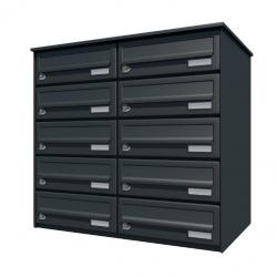 Bank of 10 wall mounted letterboxes - Anthracite grey