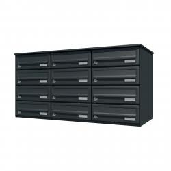 Bank of 12 wall mounted letterboxes - Anthracite grey