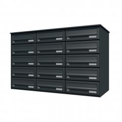 Bank of 15 wall mounted letterboxes - Anthracite grey