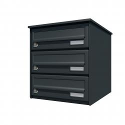Bank of 3 wall mounted letterboxes - Anthracite grey