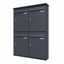 Bank of 4 vertical wall mounted letterboxes - Anthracite grey