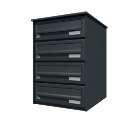 Bank of 4 wall mounted letterboxes - Anthracite grey