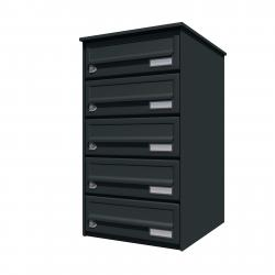 Bank of 5 wall mounted letterboxes - Anthracite grey