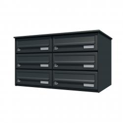 Bank of 6 wall mounted letterboxes - Anthracite grey