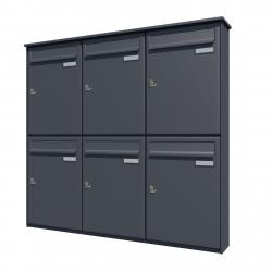 Bank of 6 wall mounted vertical letterboxes - Anthracite grey
