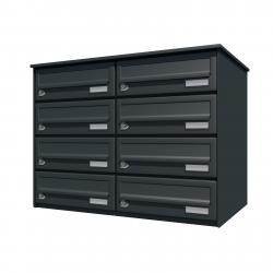 Bank of 8 wall mounted letterboxes - Anthracite grey