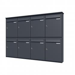 Bank of 8 wall mounted vertical letterboxes - Anthracite grey