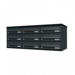 Bank of 9 wall mounted letterboxes - Anthracite grey