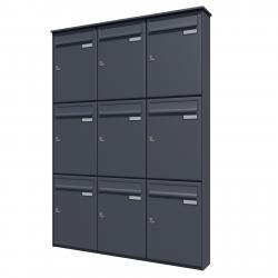Bank of 9 wall mounted vertical letterboxes - Anthracite grey