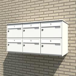 Horizontal Mounted Bank of 6 Mailboxes
