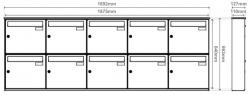 Unit of 10 Anthracite Grey Wall mounted Mailboxes