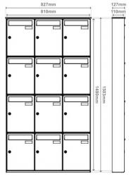 Unit of 12 Jet Black Wall mounted mailboxes