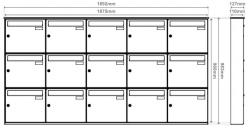 Unit of 15 Anthracite Grey Wall Mounted mailboxes
